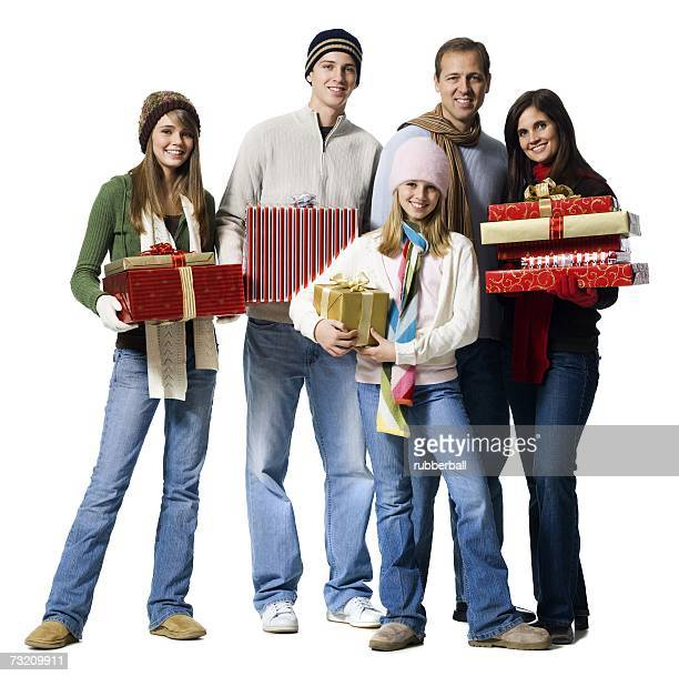 Family portrait with Christmas gifts