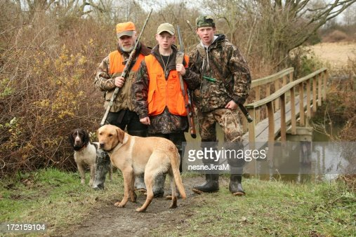 Family pose during hunting trip.