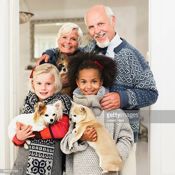 Family posing for Christmas picture