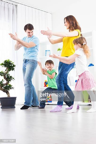 Family Practicing Tai Chi at home
