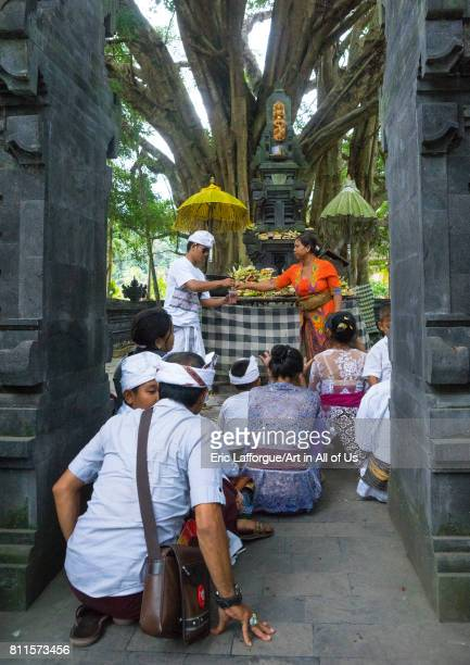 Family praying for a bountiful rice harvest in a shrine of Tirta Empul temple Bali island Tampaksiring Indonesia on July 19 2015 in Tampaksiring...