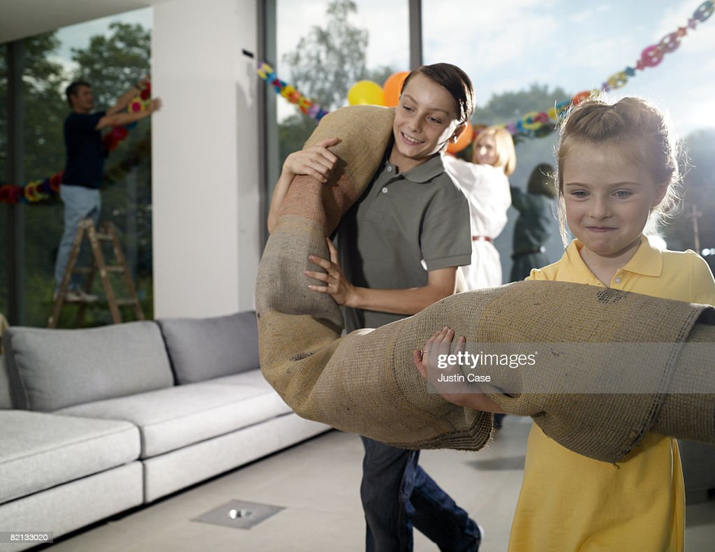 Family Preparing for Family Party : Stock Photo