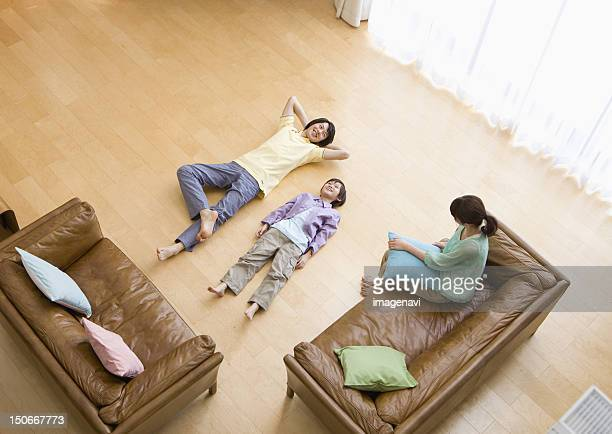 Family relaxing in a living room
