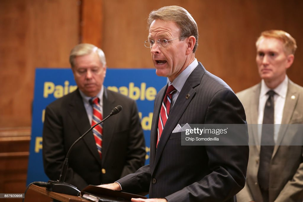 Family Research Council President Tony Perkins (C) speaks in favor of the Senate version of the 'Pain Capable Unborn Child Protection Act' during a news conference with Sen. Lindsey Graham (R-SC) (L) and Sen. James Lankford (R-OK) in the Dirksen Senate Office Building on Capitol Hill October 5, 2017 in Washington, DC. Graham introduced the companion legislation to House of Representatives' version, which passed earlier this week by a vote of 237 to 189.