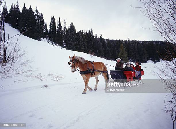 Family riding in sleigh on snow covered road