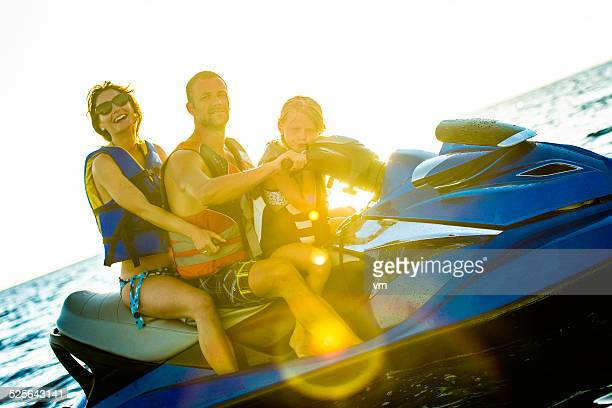 Family Riding  Jet Boat