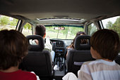 Family riding together in car