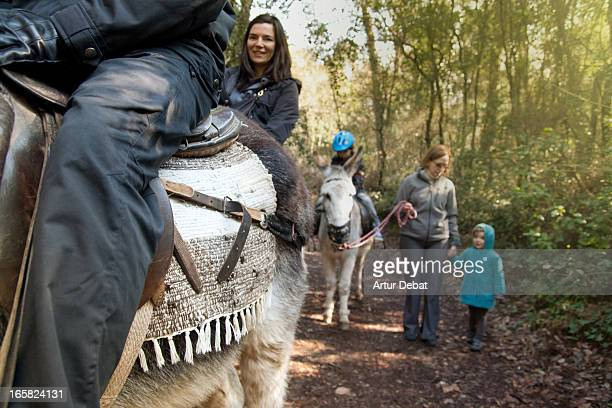 Family riding with donkeys and walking