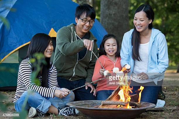 Family roasting marshmallows at campsite