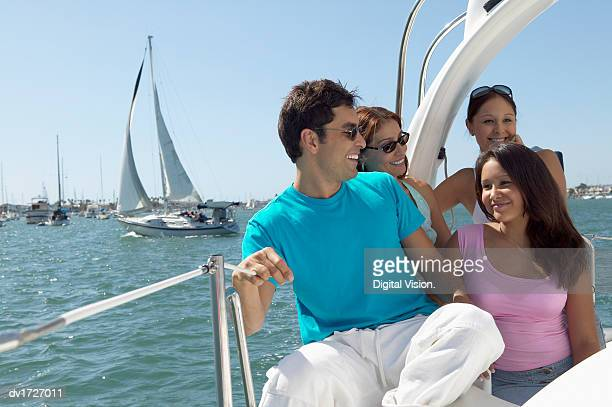 Family Sat Together on a Yacht