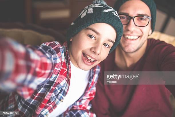 Familie selfie zu Hause