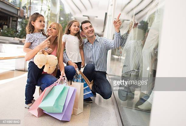 Family shopping at the mall