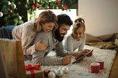 Family shopping online for Christmas