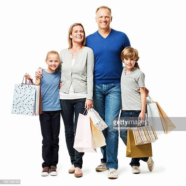 Familie einkaufen zusammen-isoliert