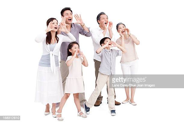 Family shouting loudly