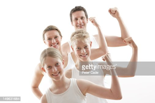 family showing strength : Stock Photo
