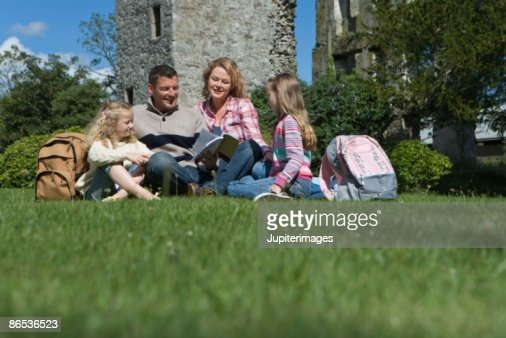 Family sightseeing in Ireland park : Stock Photo