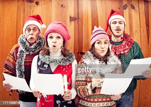 Family singing Christmas songs