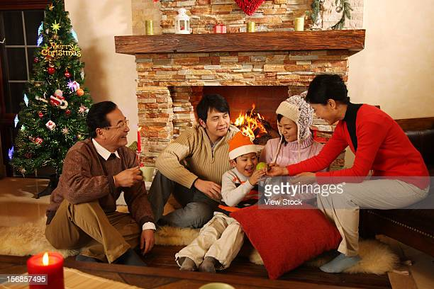 Family sitting near fireplace
