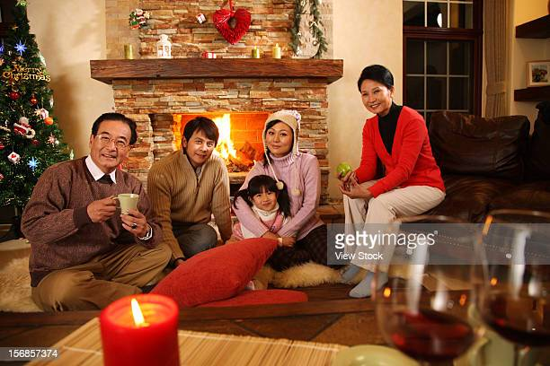 Family sitting on floor