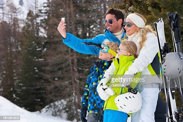 Family Skiing Selfie