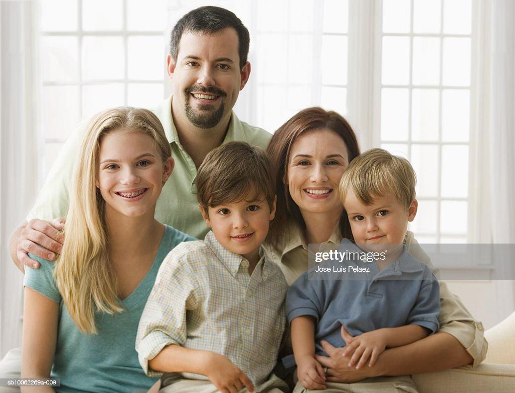 Family, smiling, portrait : Stock Photo