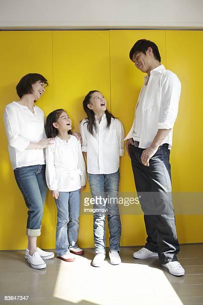 Family standing talking