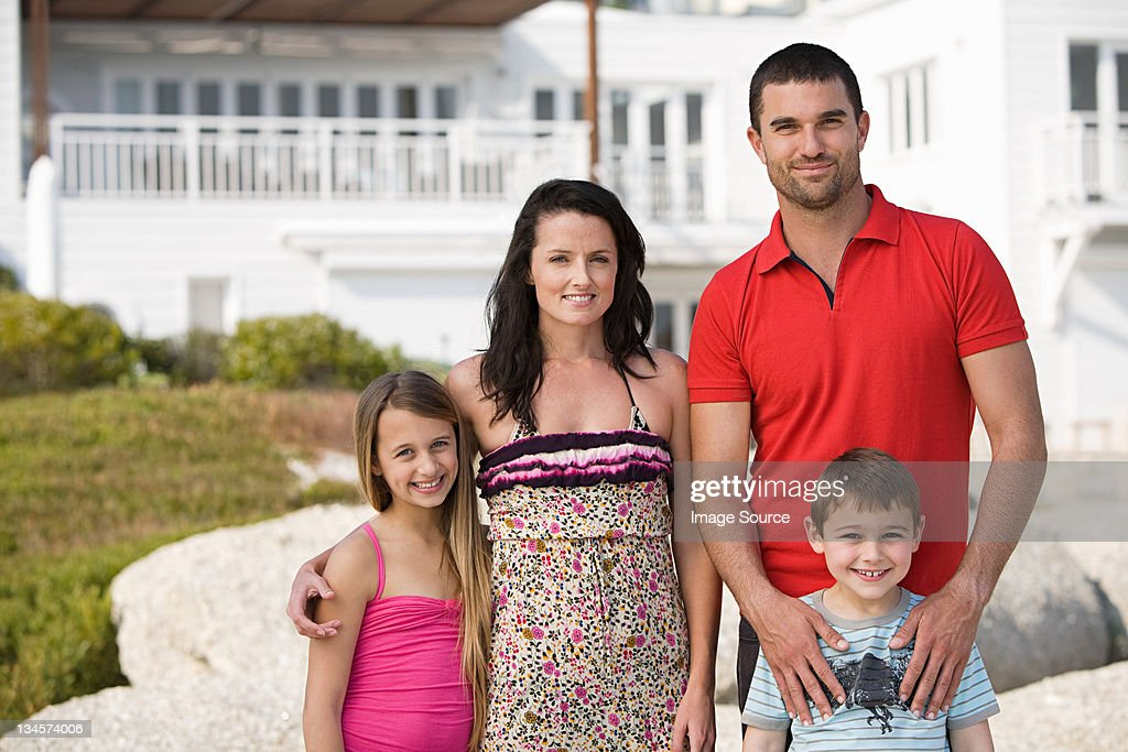 Family standing together for holiday group photo : Stock Photo