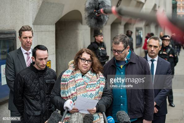 Family step mother Mandy Pearson and father Adam Whitworth of victim Daniel Whitworth speak to the media after a guilty verdict being found against...