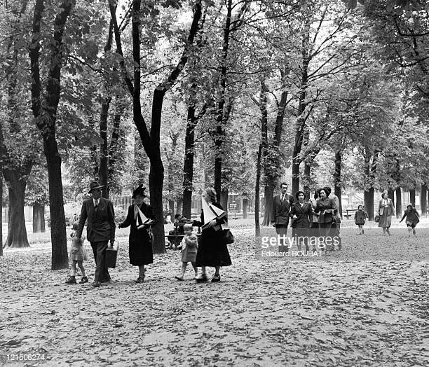 Family Stroll Through The Luxembourg Gardens In 1947
