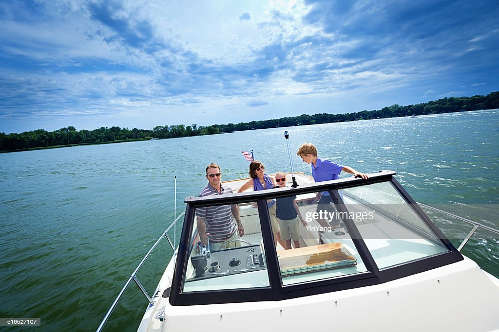 Family Summer Boating on a Lake