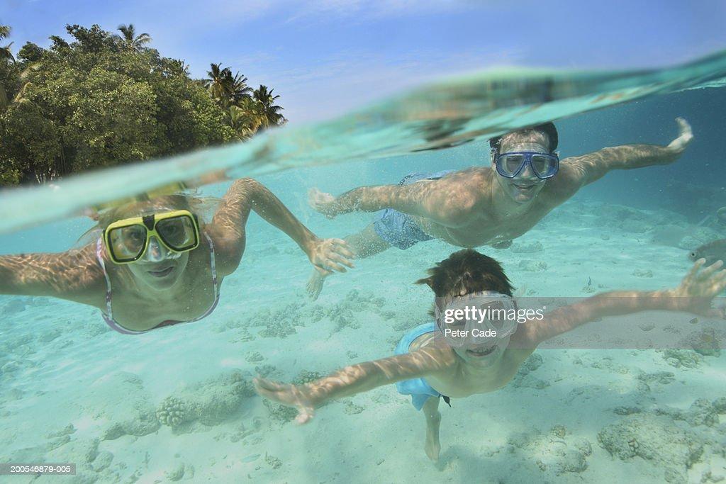 Family swimming underwater : Stock Photo