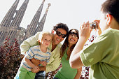 Family Taking Picture at the Church of the Sagrada Familia
