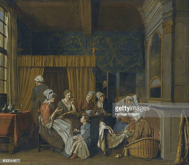 A family taking tea while celebrating the birth of twins Private Collection Artist Horemans Jan Josef the Younger