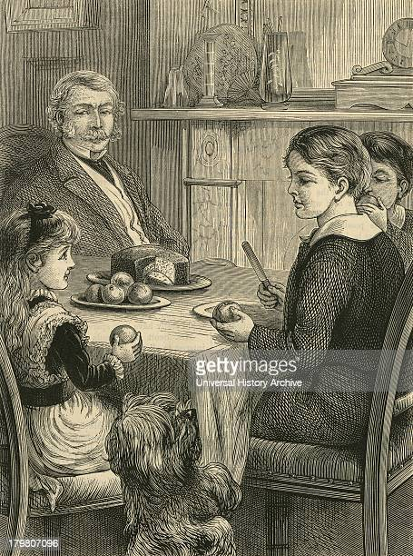 pet dog begging for a treat Engraving 1882