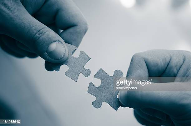 Family teamwork - puzzle connection
