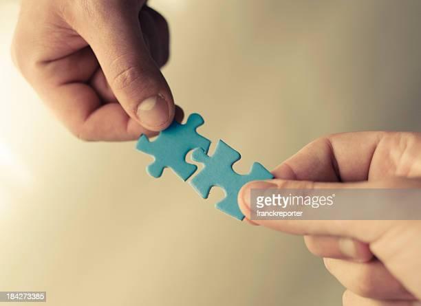Famiglia lavoro di squadra, puzzle di connessione