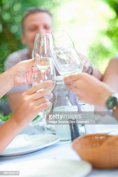 Family toasting each other at table