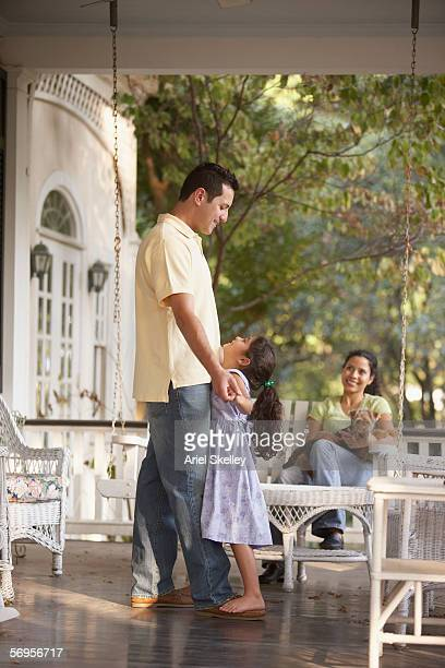 Family together on front porch