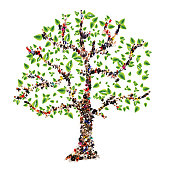 Family tree. People in the form of a tree, family tree concept.