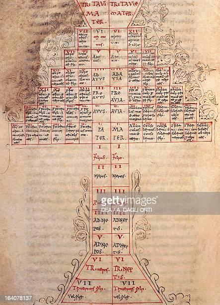 Family trees from the Venerable Bede codex manuscript 1050 Italy 11th century Cava Dei Tirreni Archivio Della Badia Della Ss Trinità