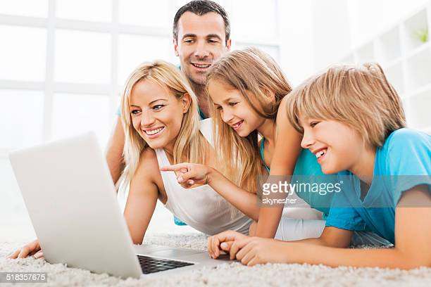 Family using computer.