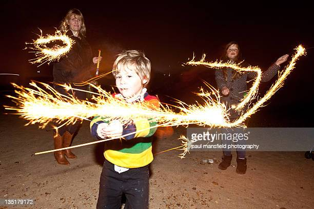 Family using sparklers