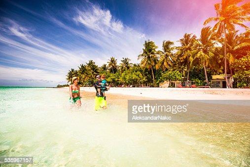 Family vacation on Maldives : Stock Photo