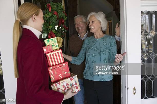 Family visiting on Christmas.