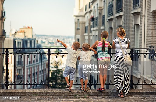 Family visiting Paris, Montmartre