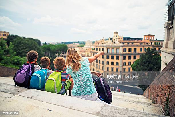 Family visiting Rome, Italy