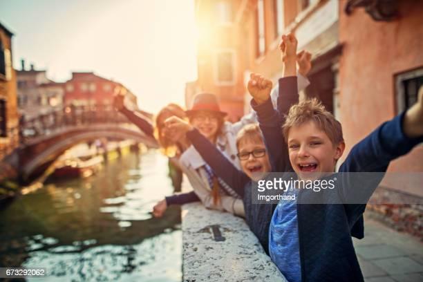 Family visiting Venice, Italy