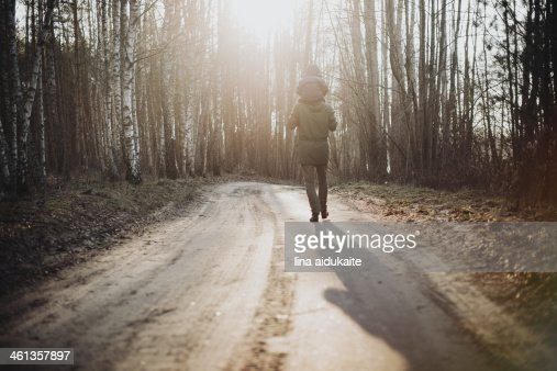 Family walk in the forest : Stock Photo