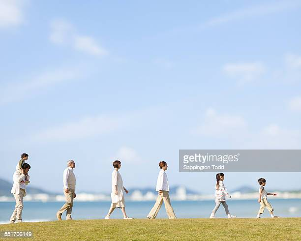 Family Walking In A Row